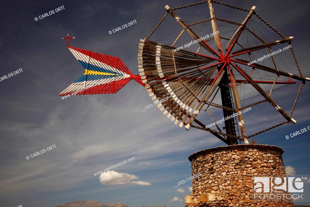 Stock Photo: Windmill  Majorca Island  Mediterranean  Spain  Balearic Island.