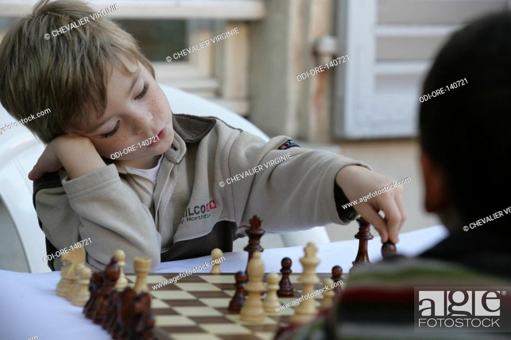 Stock Photo: Premature child chess.