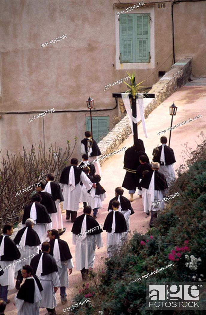 Stock Photo: France, Corsica, Bonifacio, Easter celebrations.