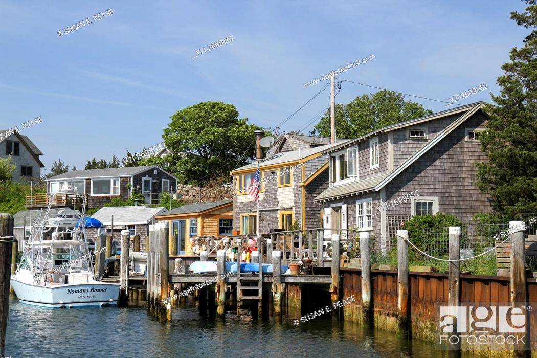 Stock Photo: On the water in the fishing village of Menemsha, Chilmark, Martha's Vineyard, Massachusetts, United States, North America.