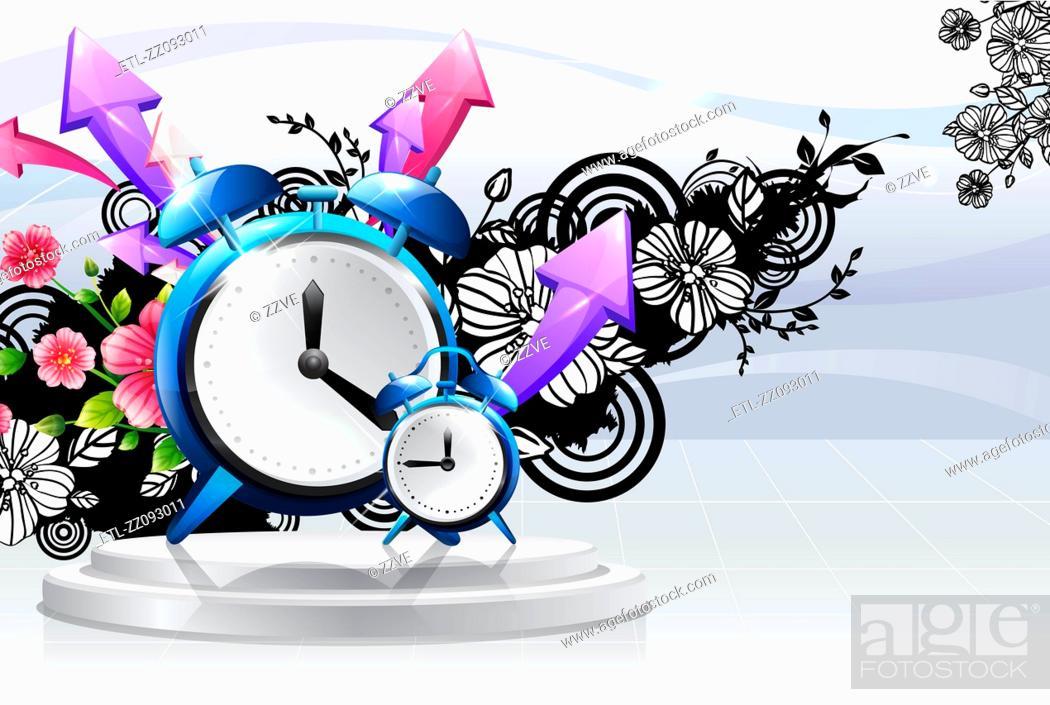Stock Photo: Alarm clock with flora design.