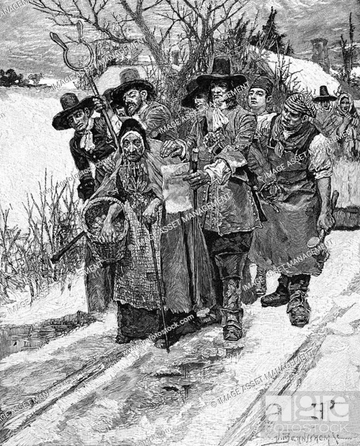 Stock Photo: Witch hunting in America - 18th century  Old woman being arrested  19th century wood engraving.