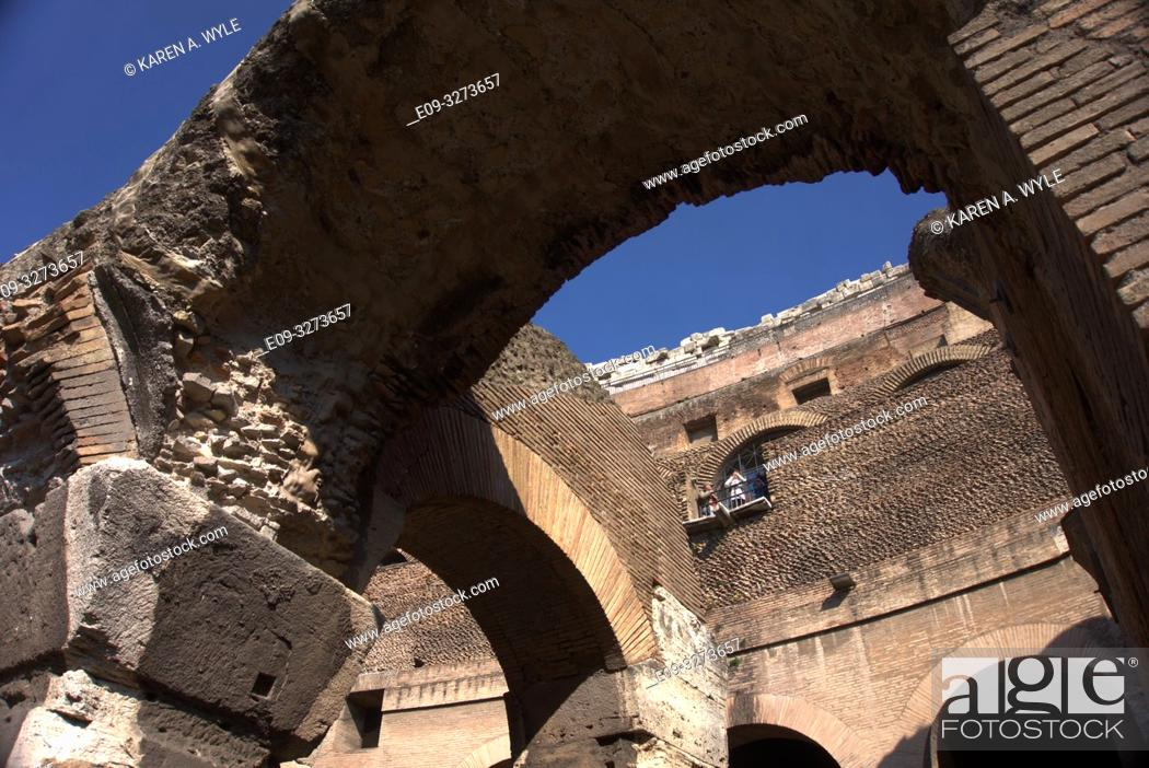 Stock Photo: arches inside Colosseum, Rome, Italy.