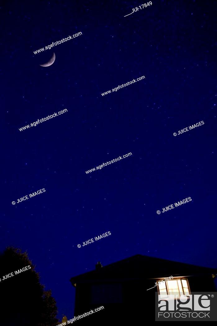 Stock Photo: House and night sky.