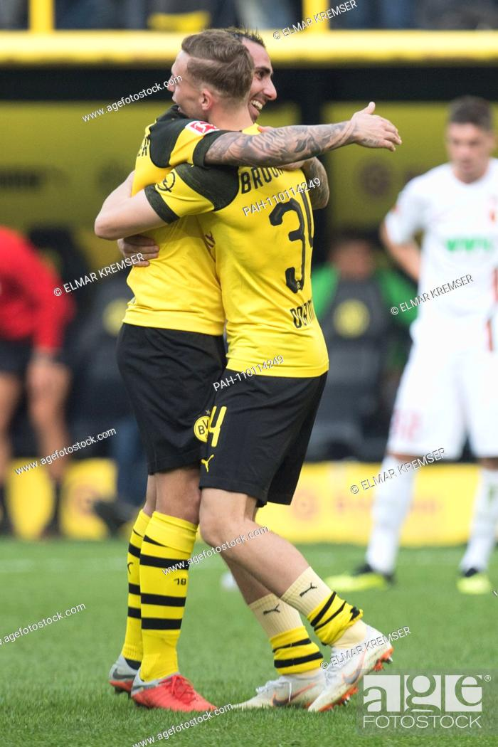 Stock Photo: Paco ALCACER (left, DO) and Jacob BRUUN LARSEN (DO) rejoice after the end of the game, jubilation, cheering, cheering, joy, cheers, celebrate, final jubilation.