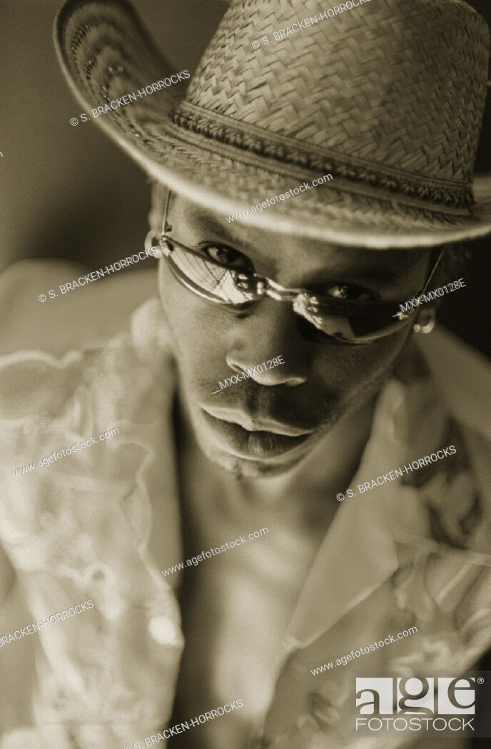 Stock Photo: Portrait of African-american man wearing hat.
