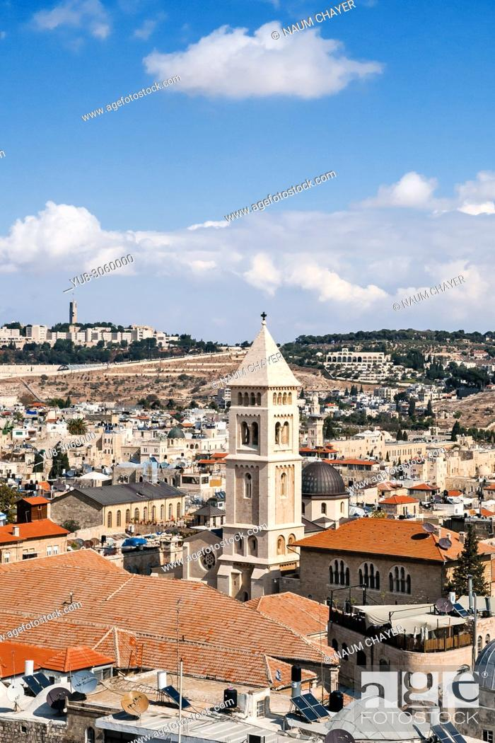 Stock Photo: Jerusalem view with tower of Church of the Redeemer, Jerusalem, Israel.