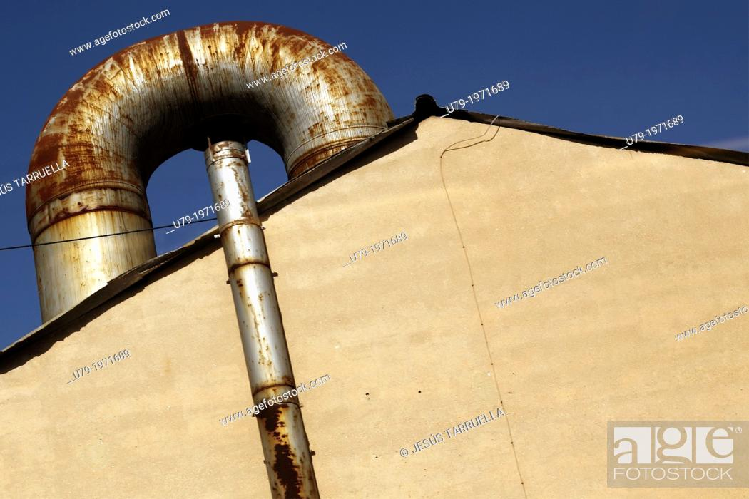 Stock Photo: Installation of air conditioning on the roof of an industrial building.