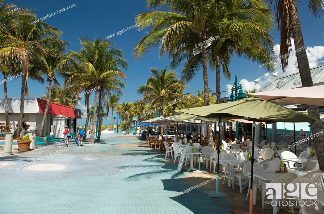 Stock Photo Outdoor Sidewalk Cafes Times Square Pedestrian Mall Fort Myers Beach Florida Usa