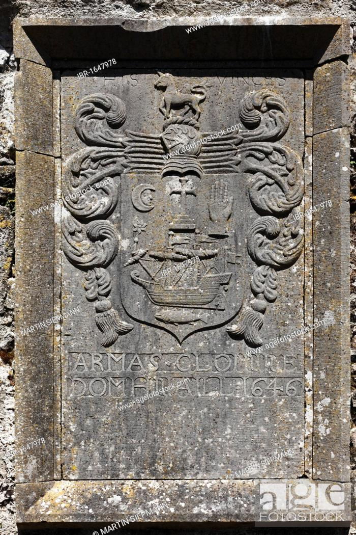 Stock Photo: Relief in the monastery ruins, Ross Abbey near Headford, County Galway, Connacht, Republic of Ireland, Europe.