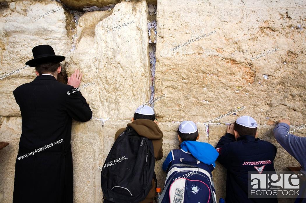 Stock Photo: Jews praying, Western Wall, Wailing Wall, Old city, Jerusalem, Israel, Middle East.