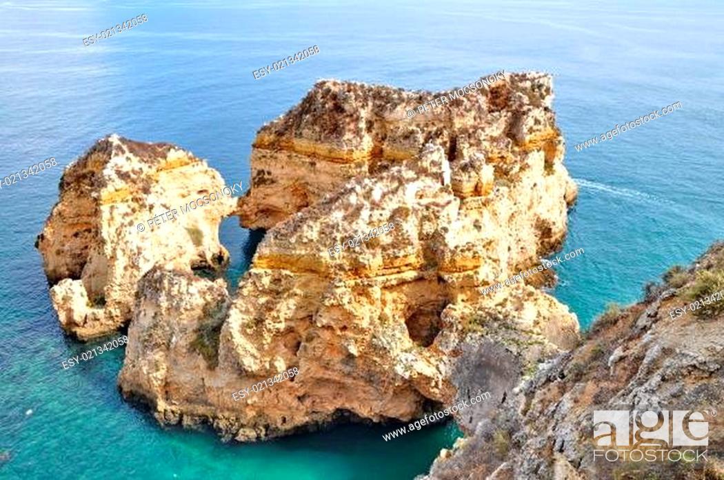 Stock Photo: Rocky coast of Portugal.