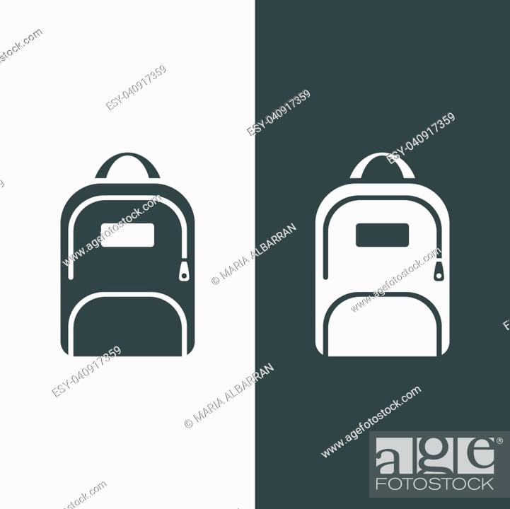 Stock Vector: Backpack icon on a dark and white background.