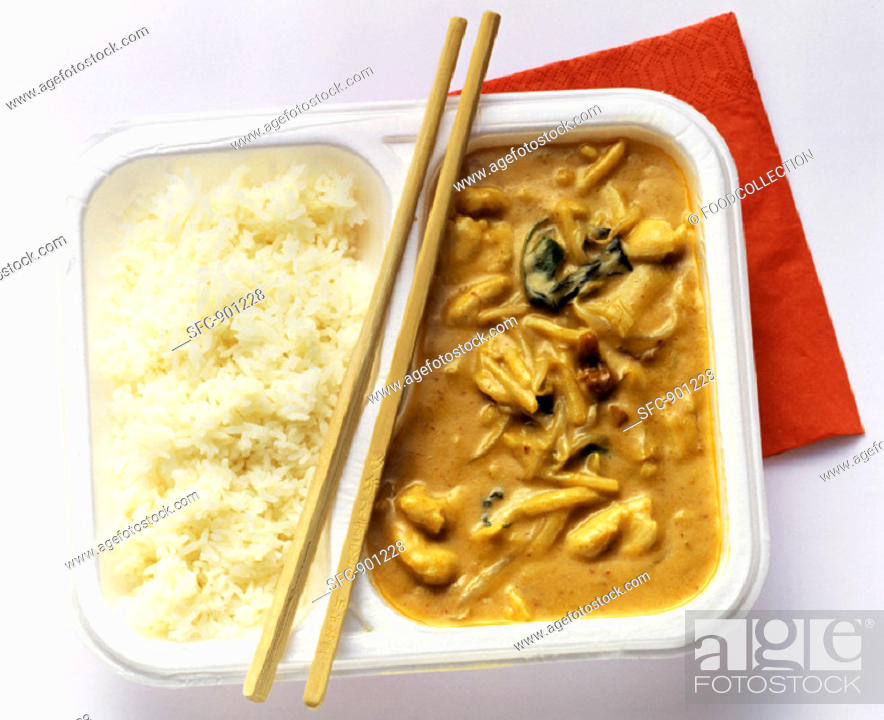 Stock Photo: Asian Chicken in Peanut Sauce with White Rice.