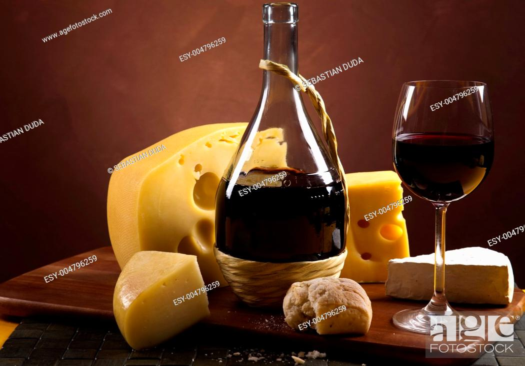 Stock Photo: Wine and cheese.