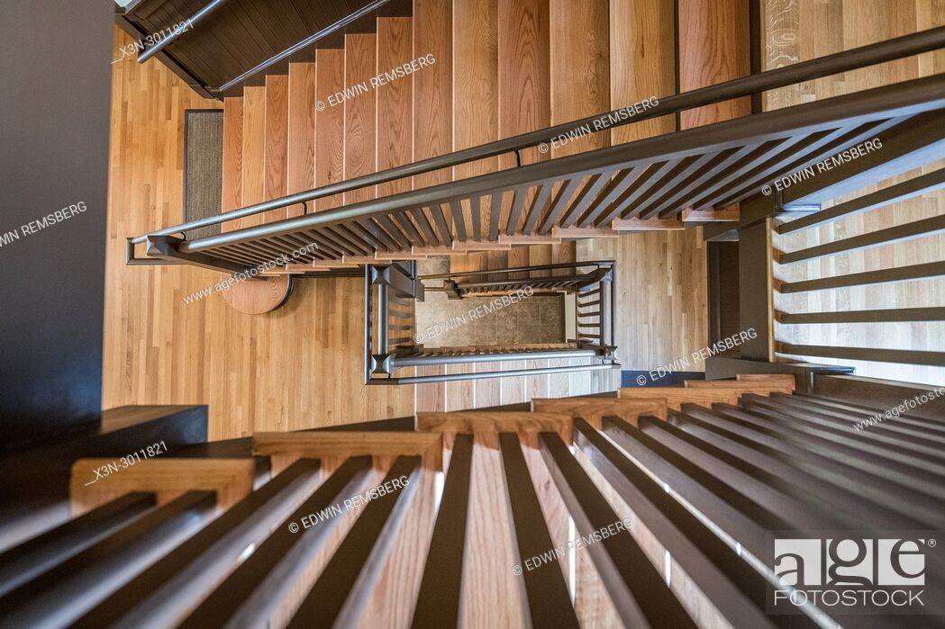Stock Photo: Directly above shot of wooden spiral staircase of building.