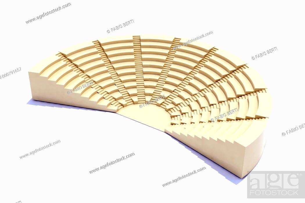 Stock Photo: 3d parliament, flight of steps, seat and stage.