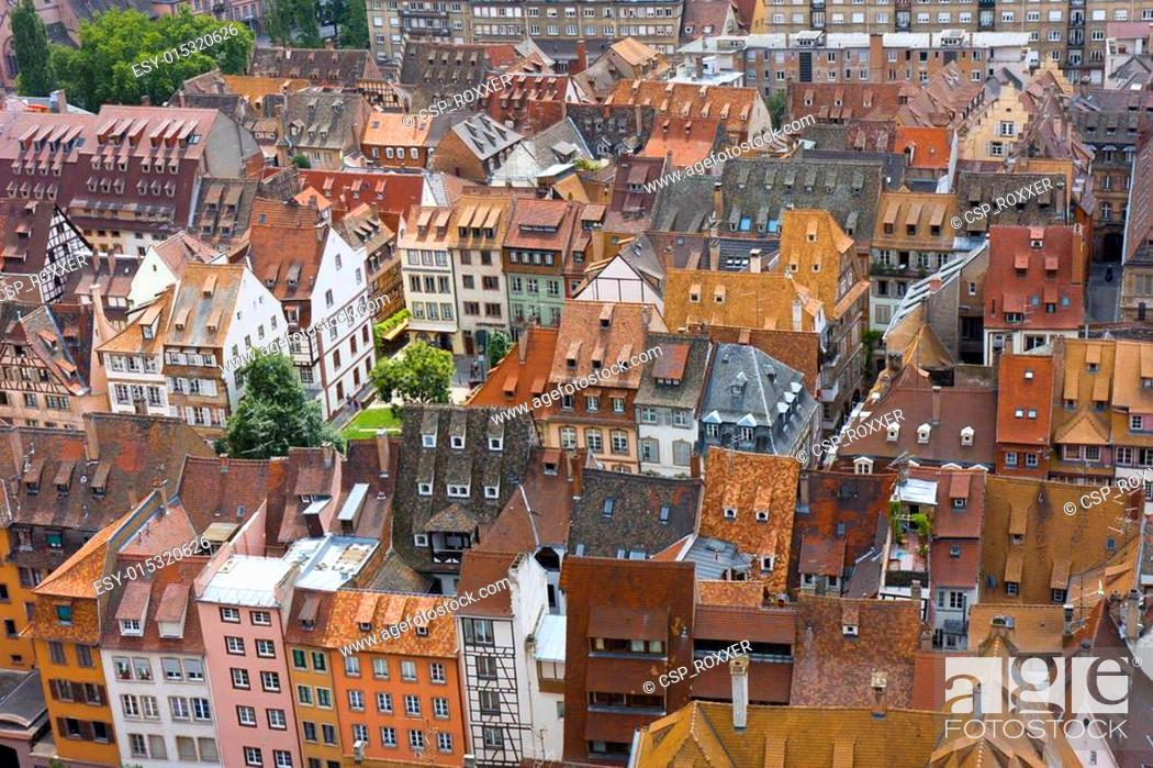 Stock Photo: tiled building roofs.