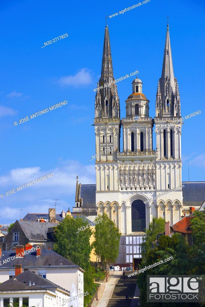 Stock Photo: Angers, Cathedral, Maine et Loire, Anjou Province, River Maine, Pays de la Loire, Loire Valley, UNESCO World Heritage Site, France.