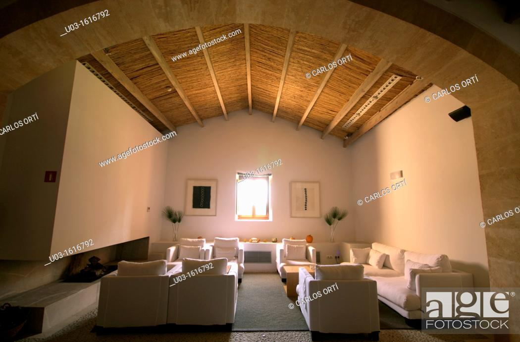 Stock Photo: living room in the hotel son brull, pollensa, majorca, spain.
