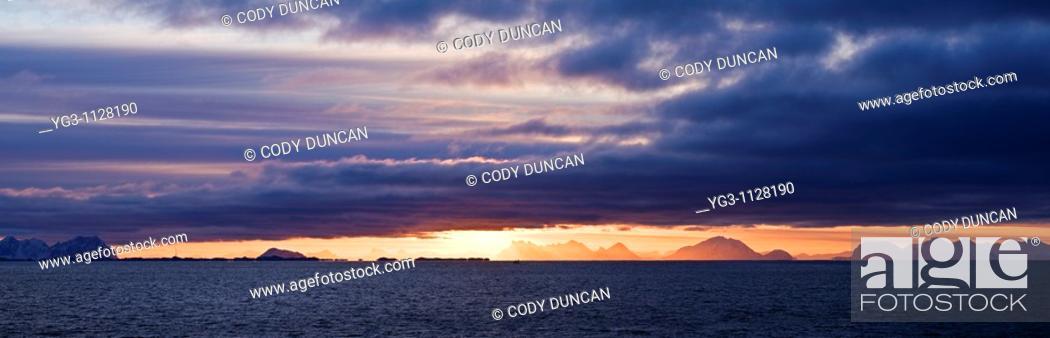 Stock Photo: Sunrise over Vestfjord as viewed from Stamsund, Vestvagoy, Lofoten islands, Norway.