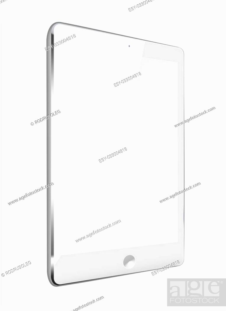 Stock Photo: Realistic tablet computer with black screen isolated on white background. Highly detailed illustration.