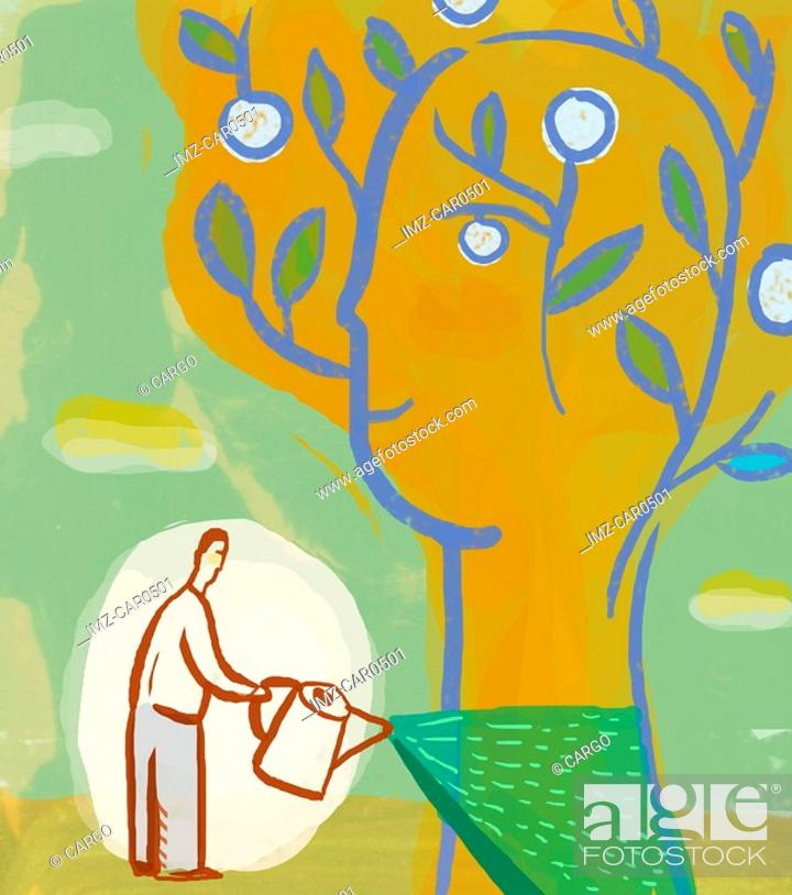 Stock Photo: Illustration of a man watering a tree that is shaped like a human head.