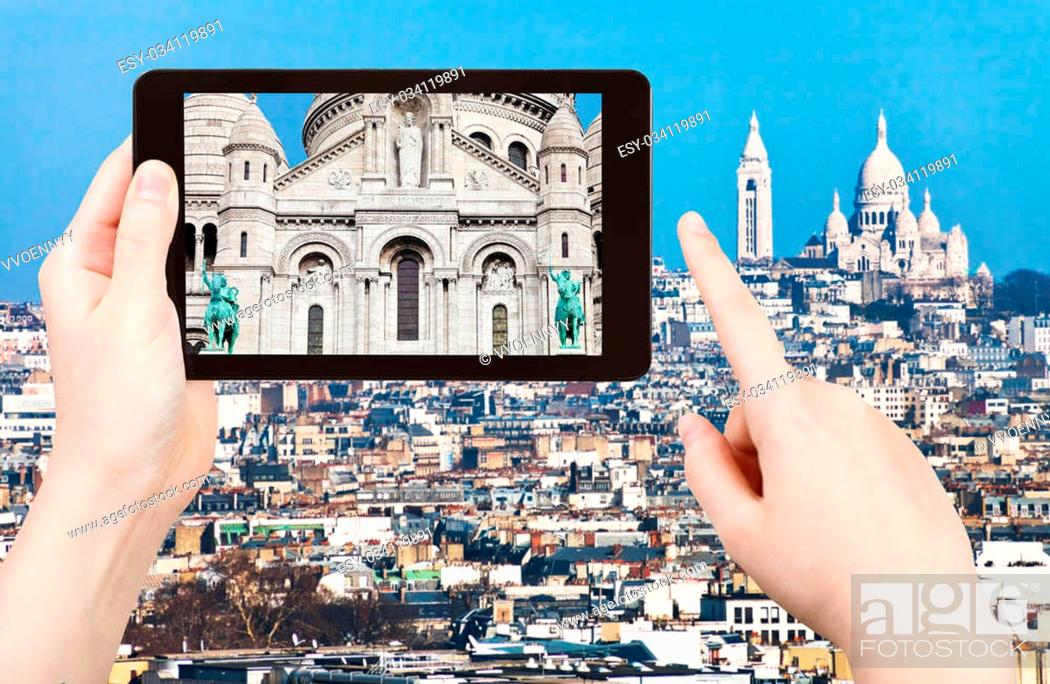 Stock Photo: travel concept - tourist taking photo panorama of montmartre hill and basilique sacre coeur in Paris on mobile gadget, France.