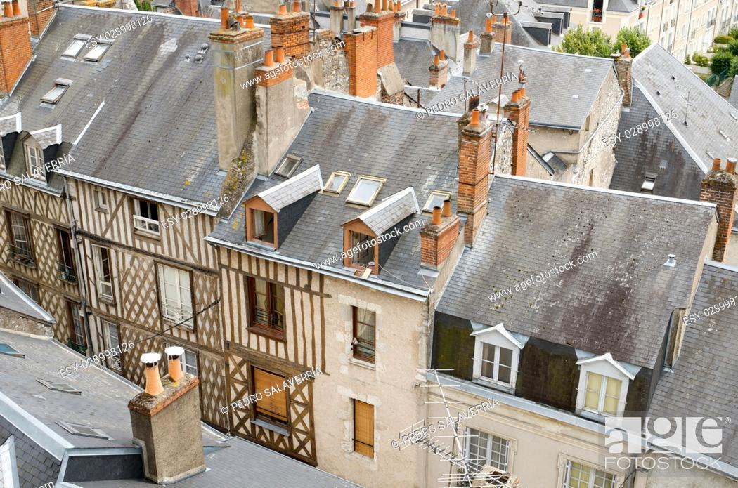 Stock Photo: forefront of roofs in the old city of Blois, Loire Valley, France.