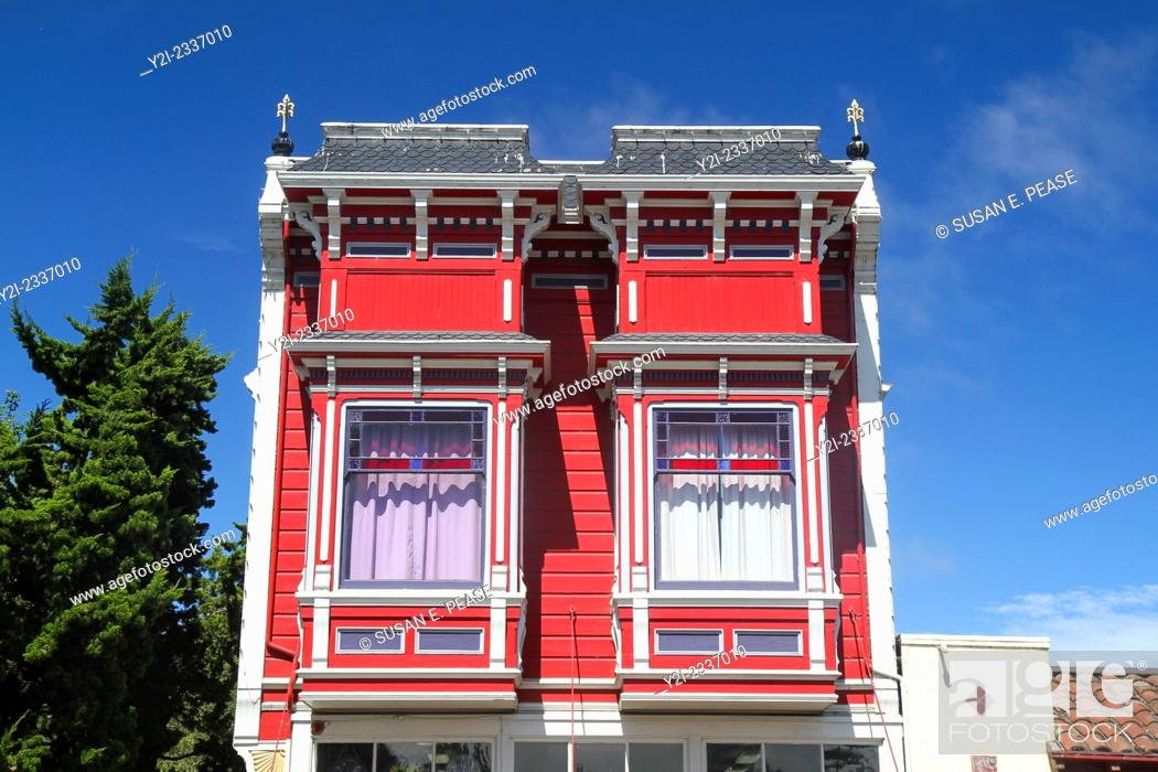 Stock Photo: Detail of Victorian architecture in Ferndale, California, United States, North America.