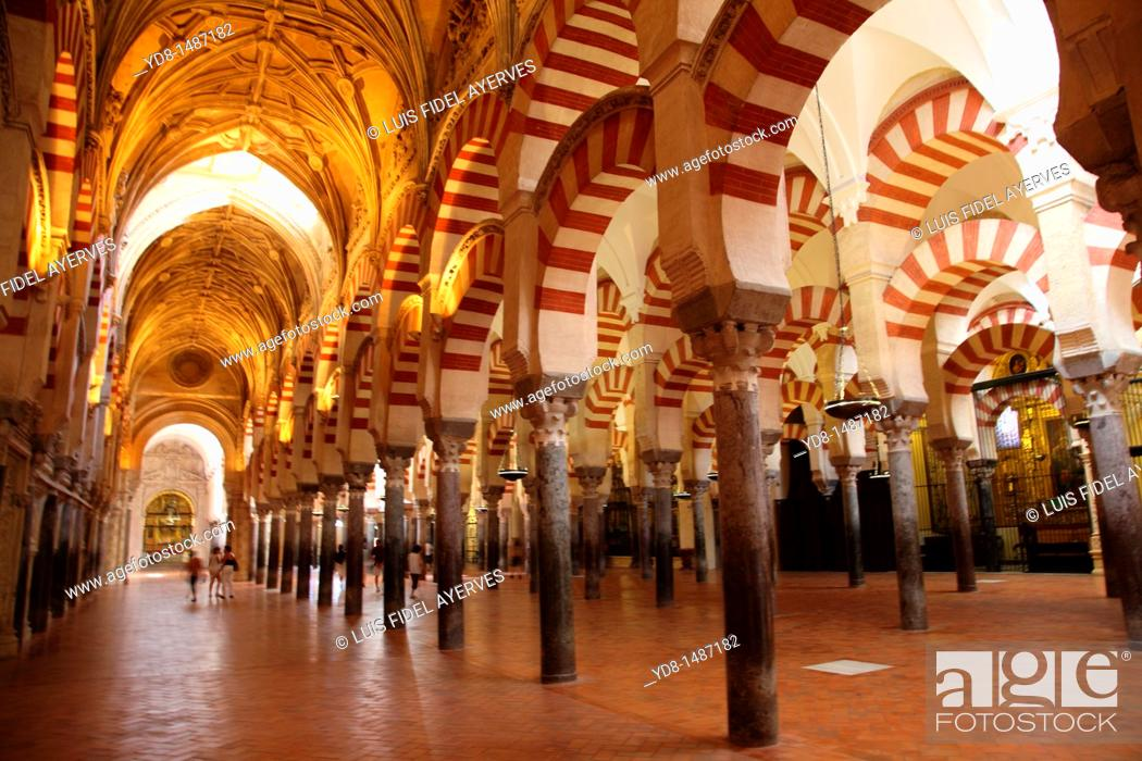 Stock Photo: Columns Inside the Mosque of Cordoba, Spain.