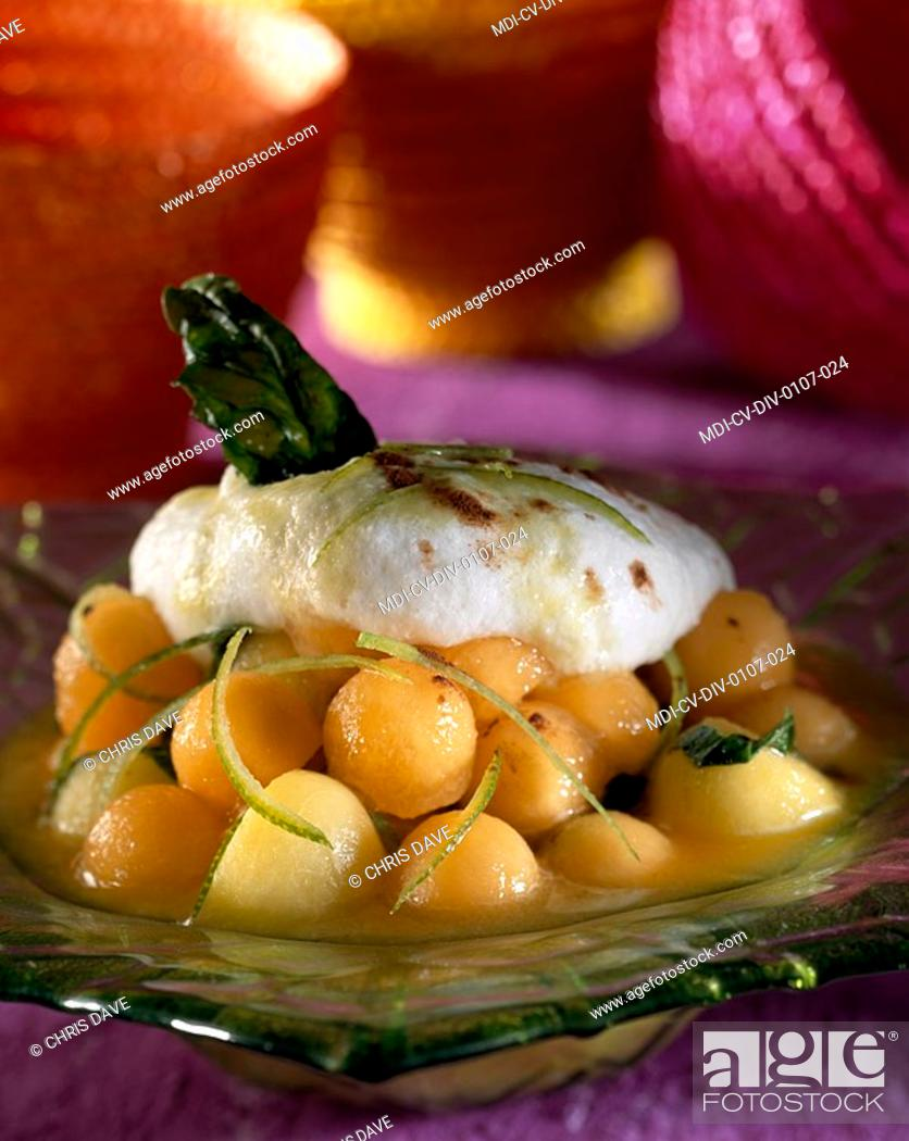 Stock Photo: Peach and melon capuccino.