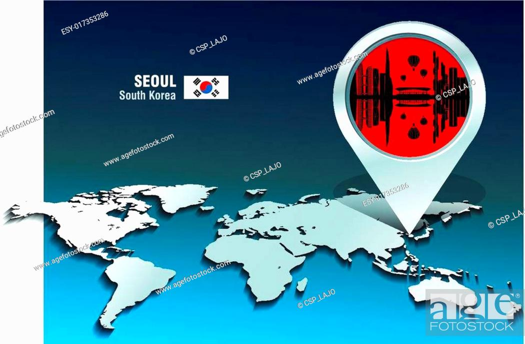 Vector: Map pin with Seoul skyline.