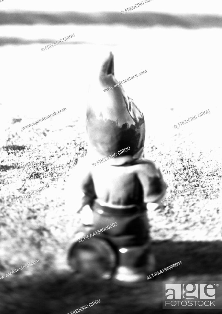 Stock Photo: Garden gnome, rear view, b&w.