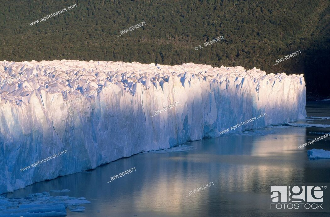 Stock Photo: Perito Moreno Glacier, glacier front with a height above the lake level of 60 to 70 meters in the Lake Argentino, Argentina, Patagonia.