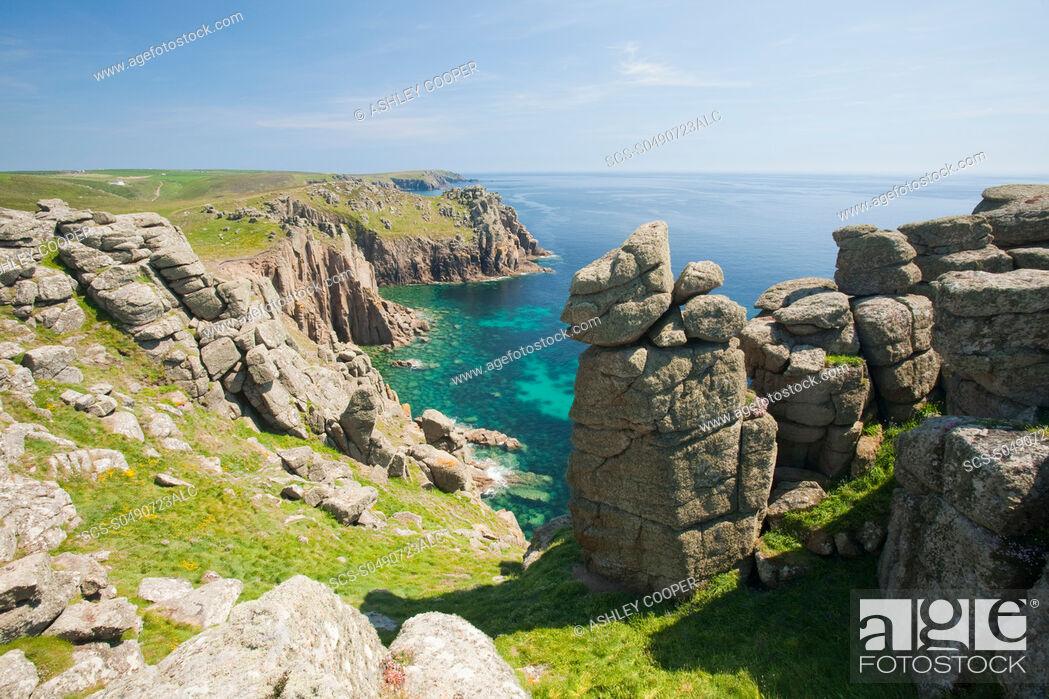 Stock Photo: Cornish coastal scenery at Lands End, Cornwall, UK.