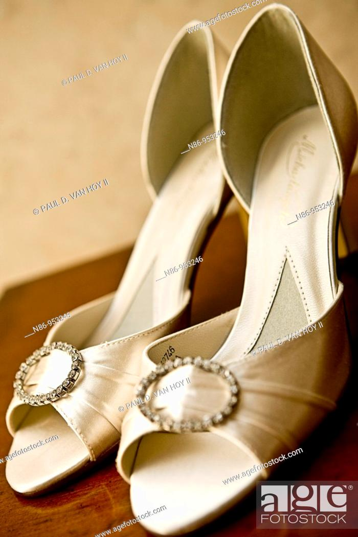 Stock Photo: Bridal shoes.