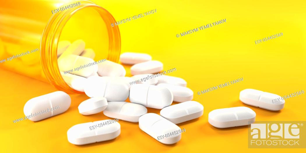 Stock Photo: Pills and orange pill bottle on yellow background with copy space. Prescription drugs. 3d ilustration.