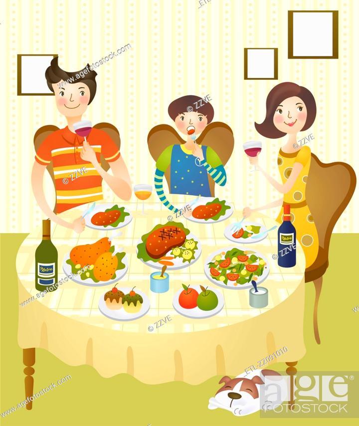 Stock Photo: Family having dinner at home.