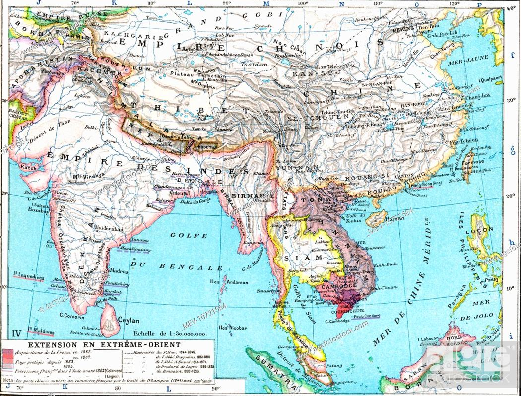 Map Of Asia Far East.19th Century Map Of The Far East Asia And India Stock Photo