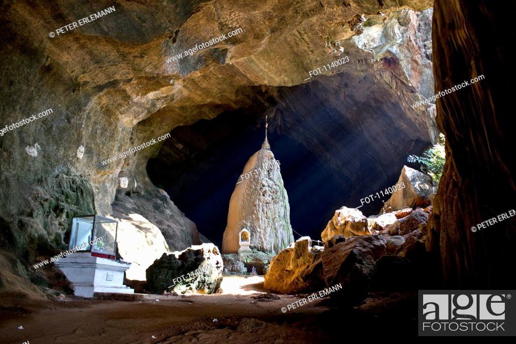 Stock Photo: A Buddhist shrine in a cave, Hpa-An, Kayin State, Burma.
