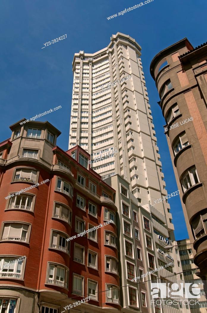 Stock Photo: Tall buildings, La Coruña, Region of Galicia, Spain, Europe.