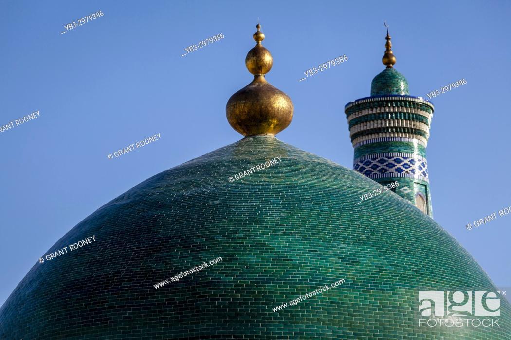 Stock Photo: The Green Dome Of The Pahlavan Mahmud Mausoleum, Khiva, Uzbekistan.