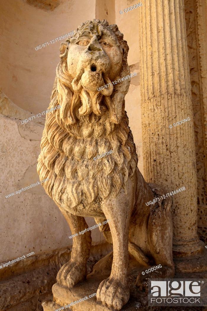 Stock Photo: Lion statue outside Madona del Carmine church. Nardo. Italy.
