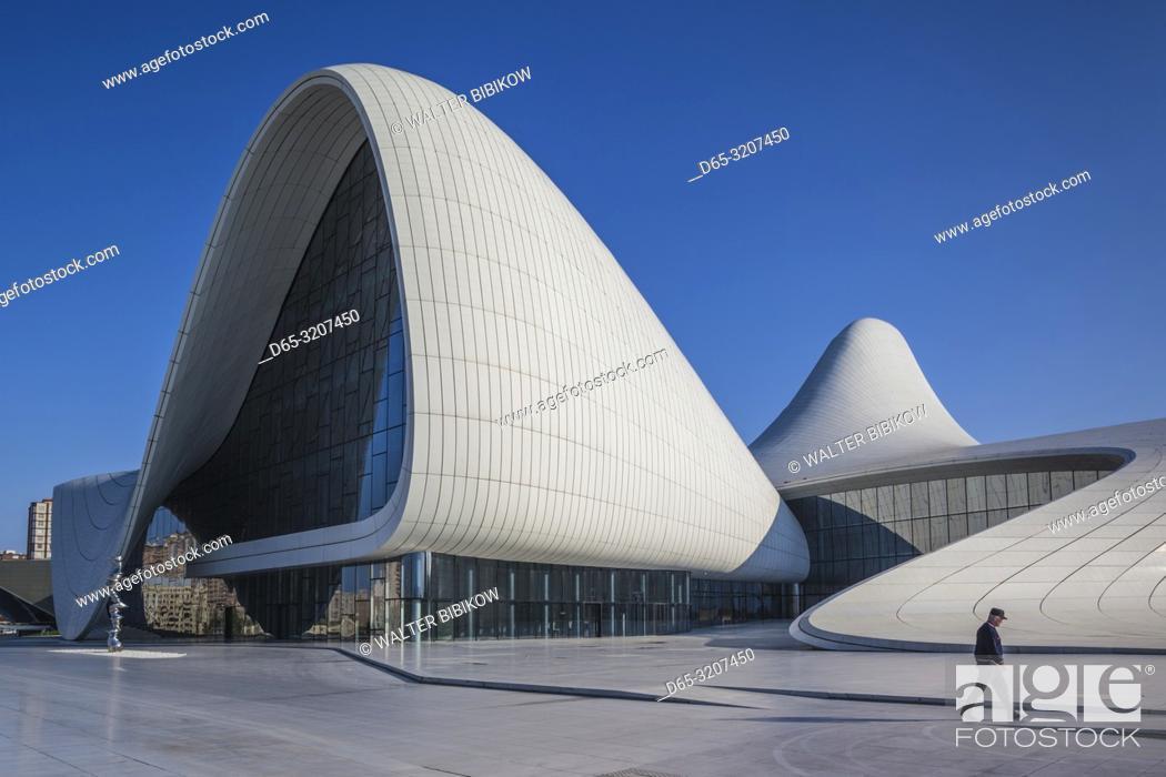 Stock Photo: Azerbaijan, Baku, Heydar Aliyev Cultural Center, building designed by Zaha Hadid, exterior with visitors, NR.