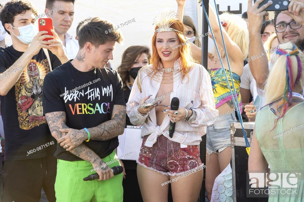 Stock Photo: Bella Thorne and Benjiamin Mascolo at the Milan Gay Pride held at the Arco della Pace. Milan (Italy), June 26th, 2021.