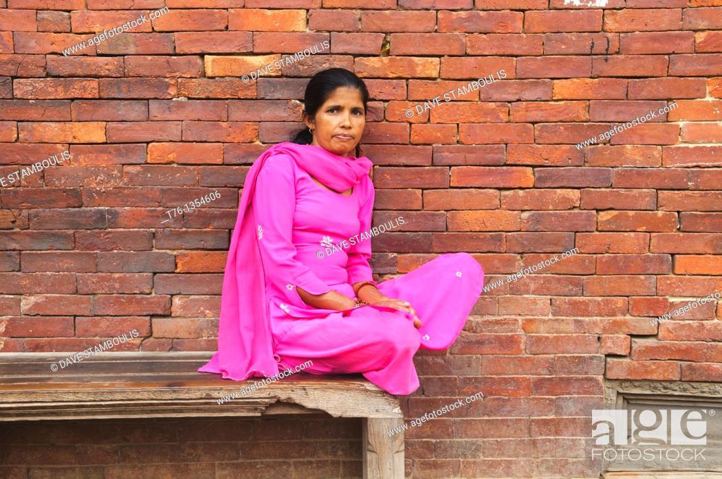 Stock Photo: portrait of a Nepali woman, Kathmandu, Nepal.