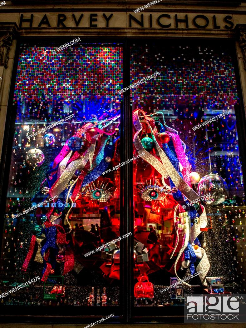 Stock Photo Harvey Nichols Store In Knightsbridge Is Lit Up With Christmas Lights This