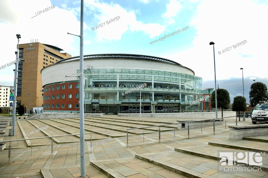 Stock Photo: Northern Ireland, Belfast, Belfast, An exterior view of the Waterfront Hall facade in Belfast.