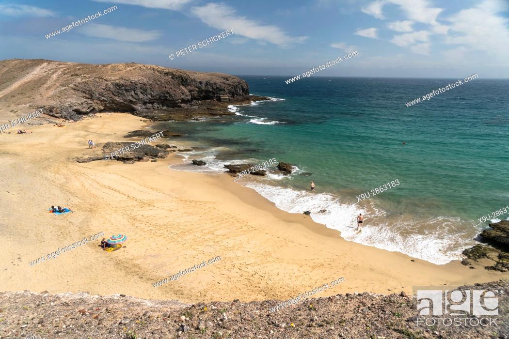 Stock Photo: beach Playa de Puerto Muelas, Playas de Papagayo near Playa Blanca, Lanzarote, Canary Islands, Spain.